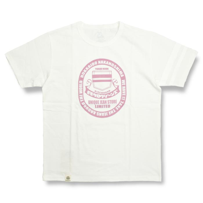 【限定】桃太郎ジーンズ × UNIQUE JEAN STORE Tee (MT302UJS) WHITE