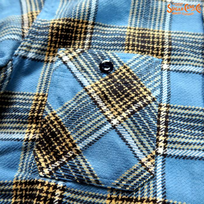 TWILL CHECK L/S WORK SHIRT  SC27964/ブルー(125)