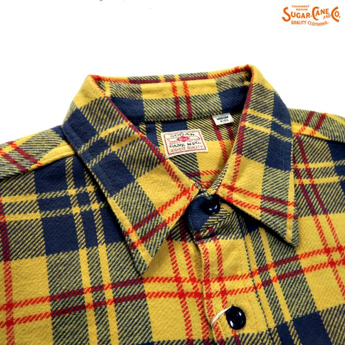 TWILL CHECK L/S WORK SHIRT  SC27966/イエロー(155)