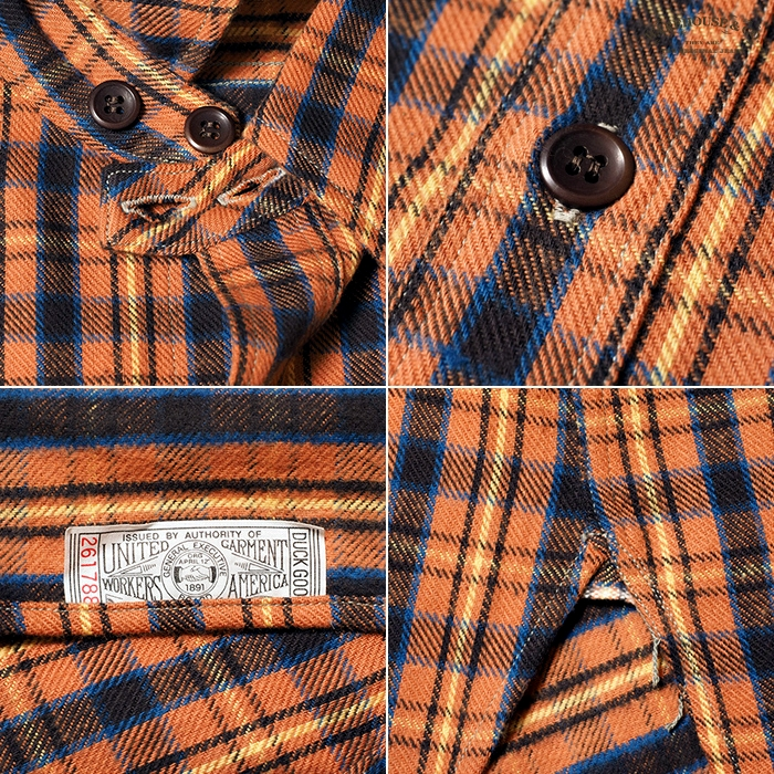 Lot 3022 FLANNEL SHIRTS WITH CHINSTRAP NON WASH:サーモン