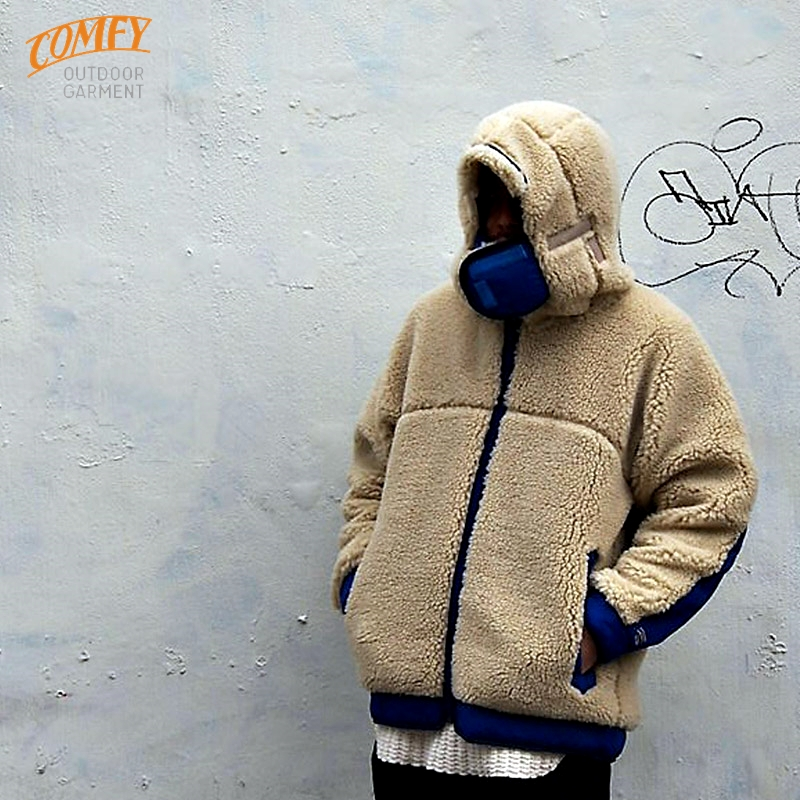 RABBIT HOODY:BEIGE×R.BLUE